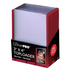 "ULTRA PRO 3"" X 4"" Ultra Clear Red Border Toploader 35pt (25-ne pakk)"